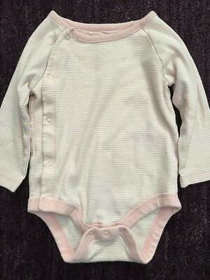 BABY GAP Girl One Piece Outfit Pink White Stripe Bodysuit 3 6 mo