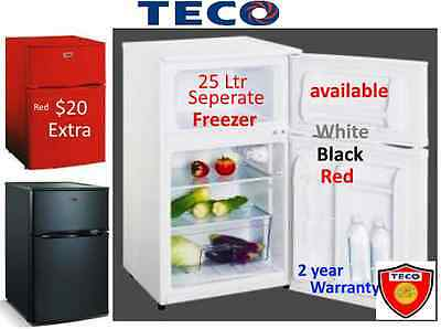 New Teco 2 Door Bar fridge -Big 25 L Freezer -White   * 2 Yr Warranty -TBF84WMTA