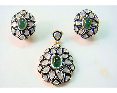 Vintage/Victorian Inspired 2.54Ct. Rose Cut Diamond Silver Emerald Pendant Set