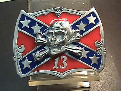 """Very Cool """"lucky 13"""" Rebel Belt Buckle... Made In The Usa"""