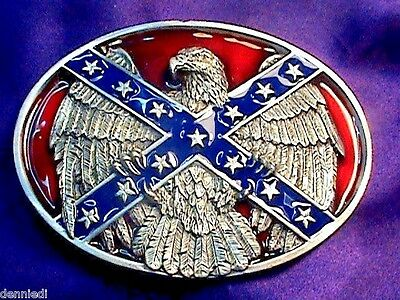 """Very Nice """"southern Rebel Eagle """"  Belt Buckle... Made In The Usa"""