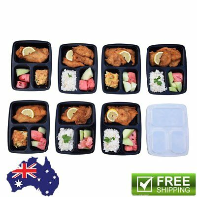 5/10 Pcs 3 Compartment Food Storage Containers With Lids Bento Lunchbox Hot GT@#