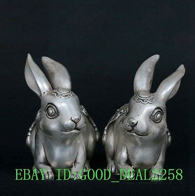 A Pair Tibet Silver Copper Hand-Carved Fu & Cai Rabbit Statue w Daqing Mark
