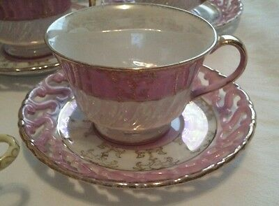 Vintage Footed Tea Cup and Saucer Reticulated Pink Lusterware