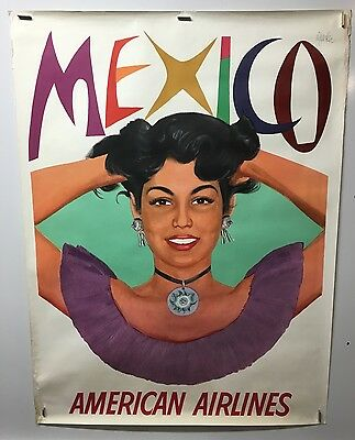 Original vintage travel poster American Airlines Mexico