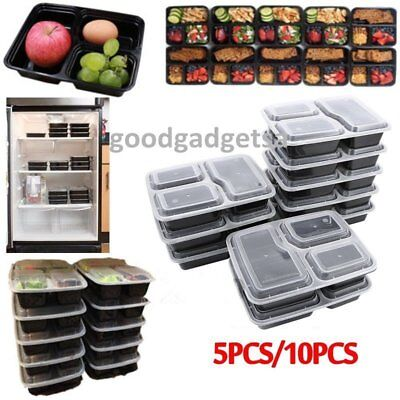 5/10 Microwavable 3 Compartment Reusable Lunch Box Bento Food Storage Container