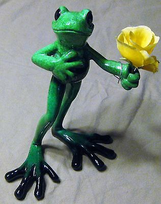 Kitty's Critters Frog Figurine Don Juan with Yellow Rose