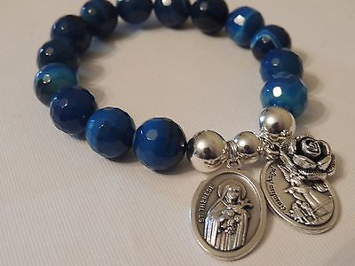 St Therese-Guardian Angel & Rose Charm-12Mm Blue Faceted Gemstone Bracelet