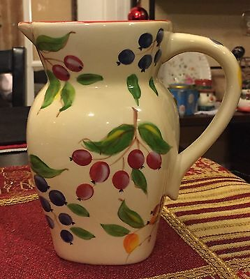 Vintage FTD White Ivory Cream Ceramic Pitcher Vase Hand painted Berries & Leaves
