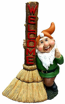 39cm Gnome with Broom Welcome Sign Statue Garden Ornaments