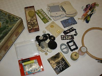 sewing tin and contents