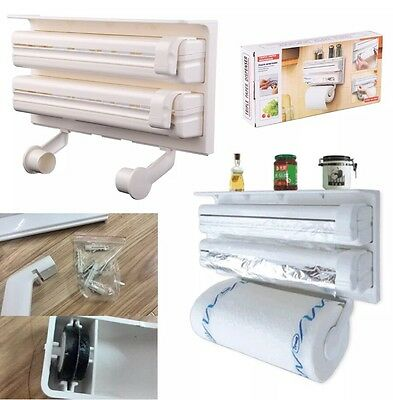 Kitchen Roll Dispenser Cling Film Tin Foil Holder Rack Wall Mounted 3 In 1 Gift