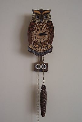 Vintage Novelty Owl Pendulum  Clock With Moving Eyes. Made In W. Germany.