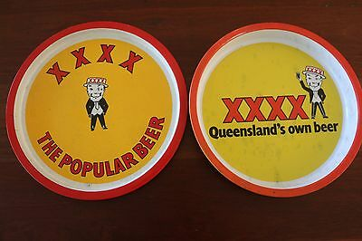 2 x XXXX Castlemaine Bitter Ale Beer Metal drink serving tray Bar Pub Man Cave