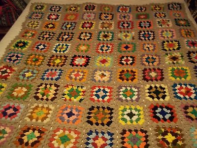 Handmade Afghan Crochet Granny Square 56X50 Inches Multi-Colored #1493