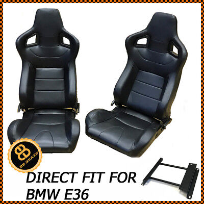Par BB6 Reclinable Cubo Deportivo Asientos Negro Universal Diseño BMW E36