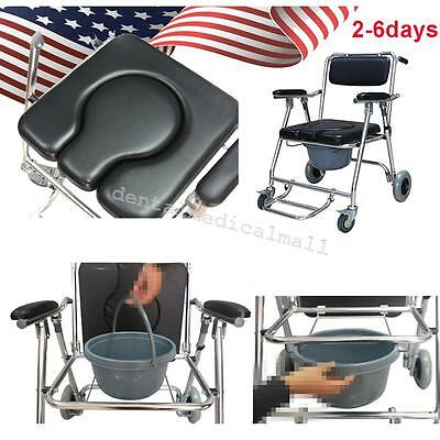 Mobile Commode Chair with 4 brakes, Wheels & Footrests Wheelchair Toilet Shower