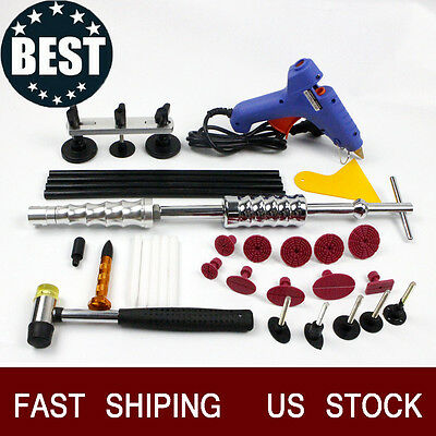 Hot Slide Hammer Paintless Dent Repair Hail Removal PDR Kit US Blue Glue Gun