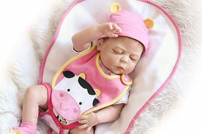 "Real Girl Sleeping Full Silicone Body 20"" Handmade Kids Newborn Reborn Baby Doll"