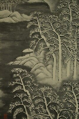 Hanging Scroll Japanese Painting Landscape Asian Art ink Japan Pic Antique y06