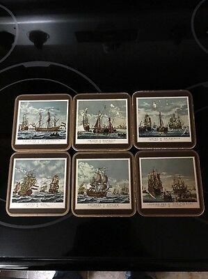 Lot Of 6 Used Pimpernel Celluware Cork Old English Sailing Ships