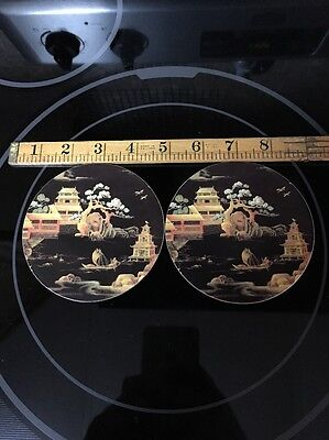 Lot Of 2 Older Pimpernel Asian Traditional Round Coasters Made In England