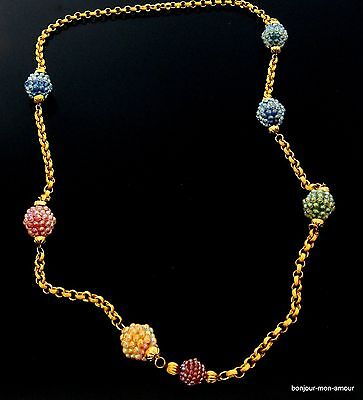 1960s bunte Plastik Beeren Collier Halskette, Berry Collier Necklace, RAR