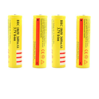 UK SELL 4x 18650 3600 3.7V Rechargeable Li-ion Battery for Flashlight torch