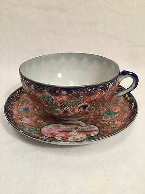 Hand Painted Vintage Japanese Egg Shell Cup & Saucer