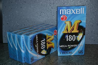 X5 MAXELL VHS MEGA POWER TAPE 180mn blank tape New SEALED