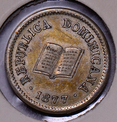 D0031 Dominican Republic 1877  5 Centavos  rare in high grade combine shipping