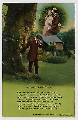 "POSTCARD - Bamforth Song Card ""Somewhere (3)"" sentimental romance theme #4626/3"