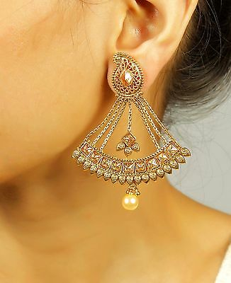 7301 Ethnic Gold Plated Indian Bollywood Traditional Jhumka Jhumki Jewelry Set