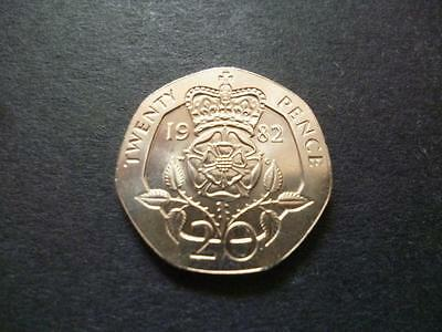 1982 Uncirculated Twenty Pence Piece,the First Issue Of The 20P Coin Was In 1982