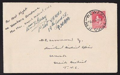 New Guinea : 1937 First Flight Cover Mai Mai Wewak signed by Pilot ONLY 21 FLOWN