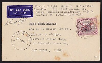 Papua 1935 First Flight cover Daru Oroville Lakatoi signed AAMC 88 Only 81 FLOWN