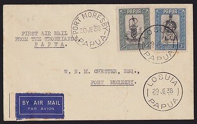Papua : 1938 First Flight Cover Losuia-Port Moresby VERY SCARCE!
