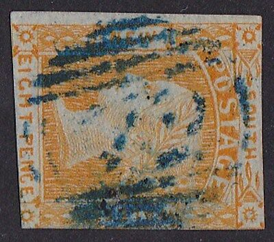 New South Wales : Postmark Numeral 72 of Wee Waa (RRRR) on 1853 QV Laureate 8d