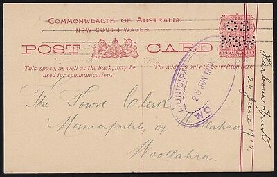 NEW SOUTH WALES Postcard-Official 1910 Arms 1d OS NSW Retail $400+ SCARCE!