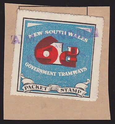 New South Wales : 1937 Tramways  local train packet stamp.