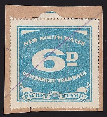 New South Wales 1950 Tramways Government 6d local train stamp.