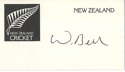 New-Zealand Test Cricket - William Bell - Signed Card.