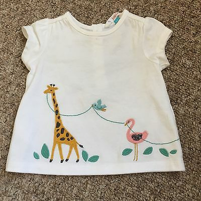 John Lewis Baby Girl Animal Tshirt 3-6 White