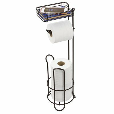 mDesign Free Standing Toilet Paper Holder with Shelf for Bathroom - Bronze