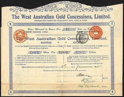 West Australian Gold Concessions Ltd., 1 share of £1, 1895, with coupons, AVF