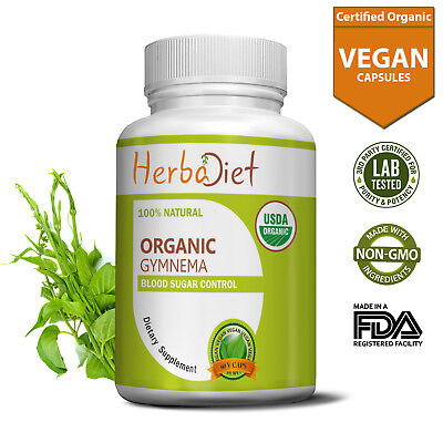 Organic Gymnema Sylvestre Leaves Capsules 500mg Blood Sugar Control Weight Loss