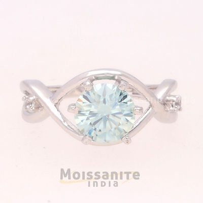Fiery 0.88 ct Moissanite Engagement wedding Ring 925 Sterling Silver  MI