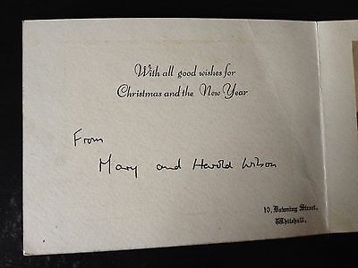 Harold & Mary Wilson - Former Prime Minister - Signed Greetings Card