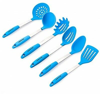 Landoom Silicone Kitchen Utensil Set Blue Stainless Steel Large Cooking Tools