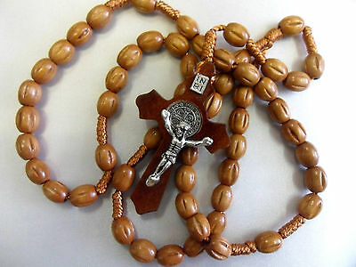 Rosary beads, brown wood, corded. SAINT BENEDICT Crucifix